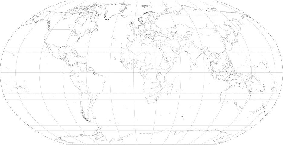 Mapamundi en blanco y negro con nombres para imprimir  Imagui