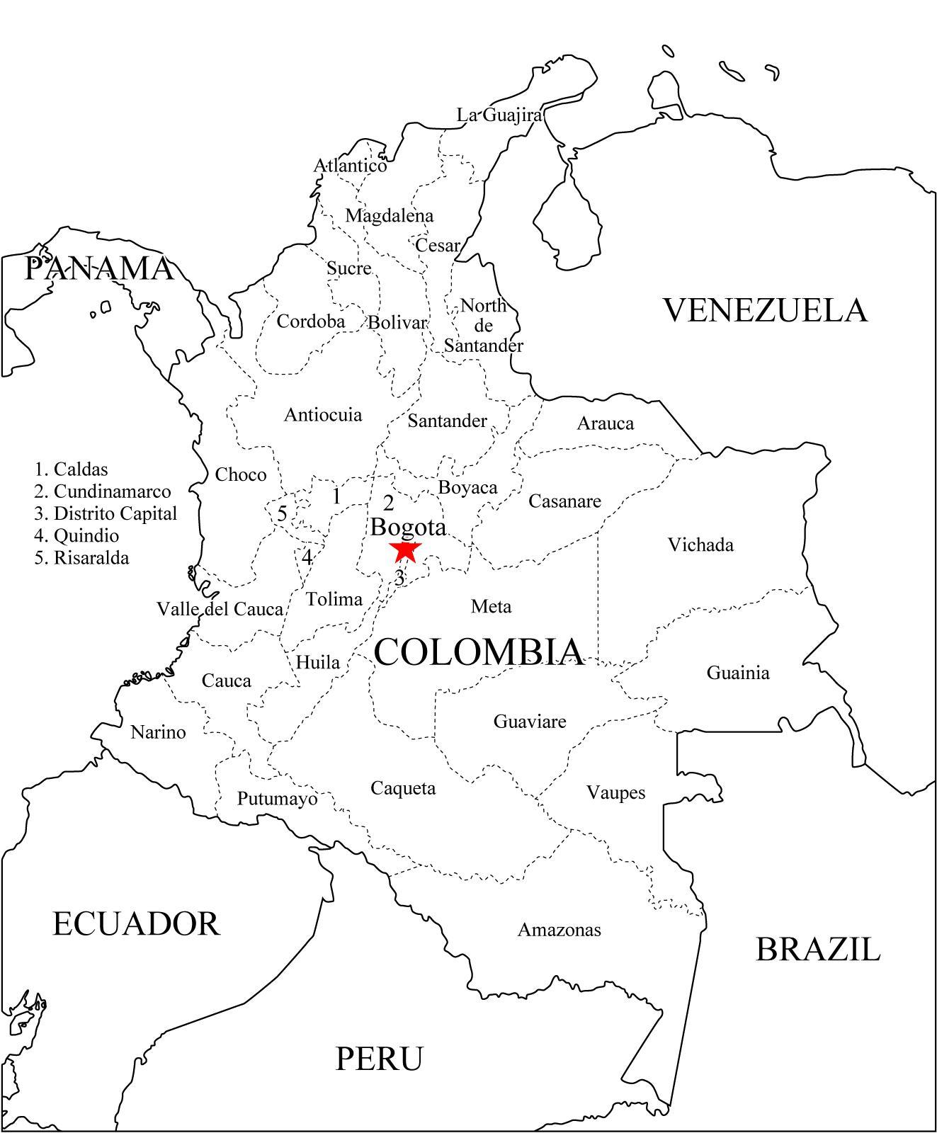Mapa político de Colombia para imprimir Mapa de departamentos de ...