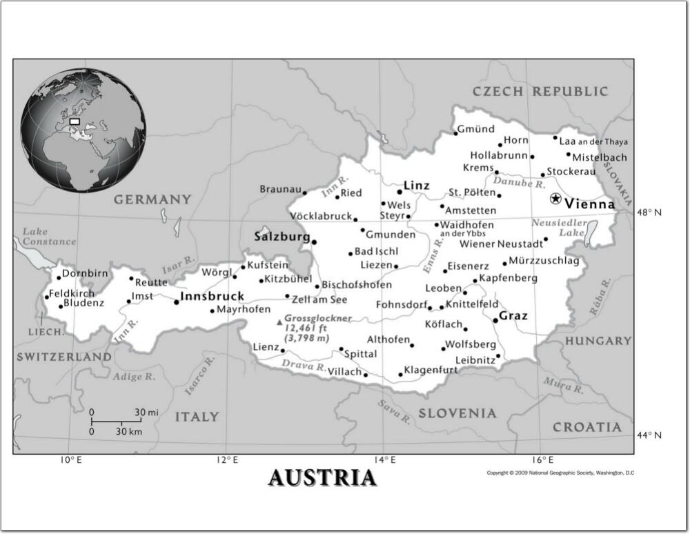 Importantes Ríos De Suiza: Mapa Físico Y Político De Austria Mapa De Ciudades Y