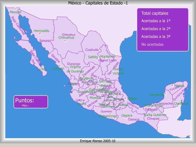 Mapa interactivo de México Capitales de estado de México. ¿Dónde ...