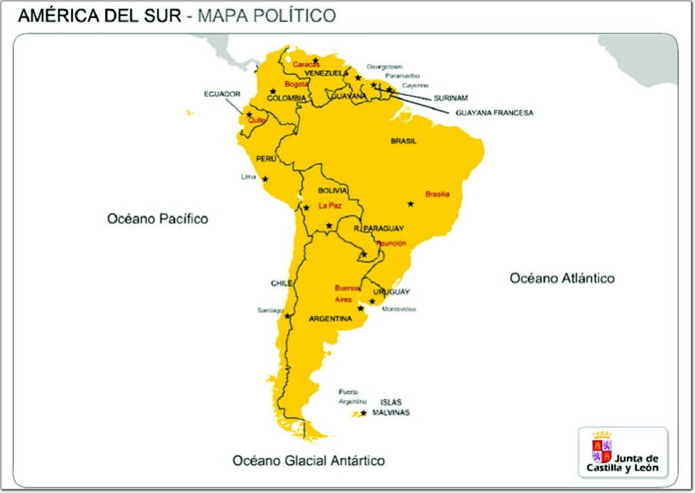 9 best spanish learning images on pinterest maps spanish map of south america with capital cities gumiabroncs Choice Image