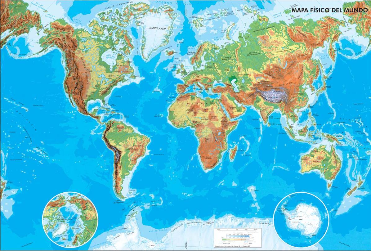 Mapa físico del Mundo Mapa de ríos y montañas del Mundo. IGN ... MAPA FISICO DEL MUNDO