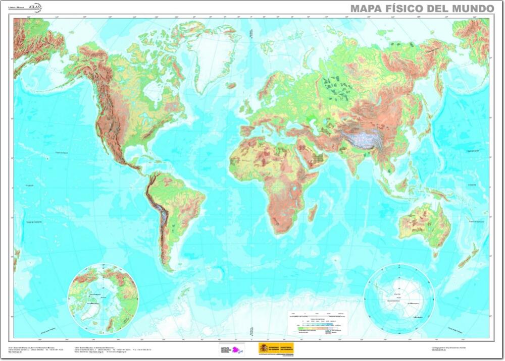 Mapa físico mudo del Mundo Mapa de ríos y montañas del Mundo. IGN ... MAPA FISICO DEL MUNDO