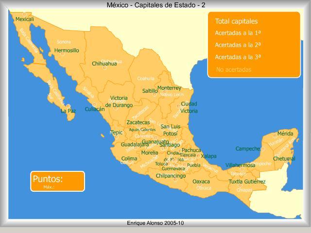 Mapa interactivo de México Capitales de estado de México. ¿Cómo se ...
