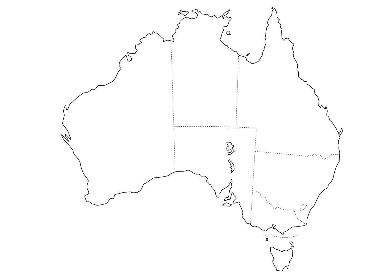 Mapa político mudo de Australia para imprimir Mapa de estados de ...