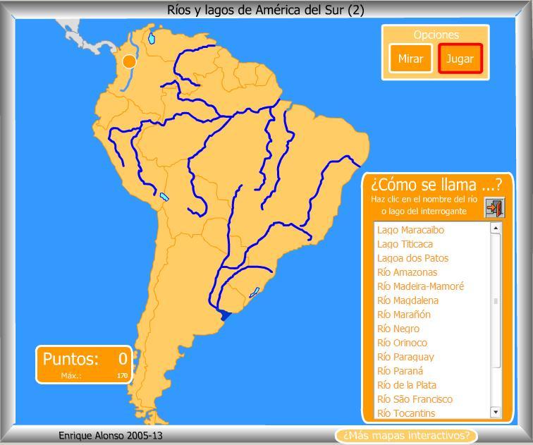 Mapa interactivo de América del Sur Ríos y lagos de América del ...