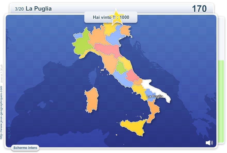 Mappa interattiva dell'Italia Regioni d'Italia. Giochi ...