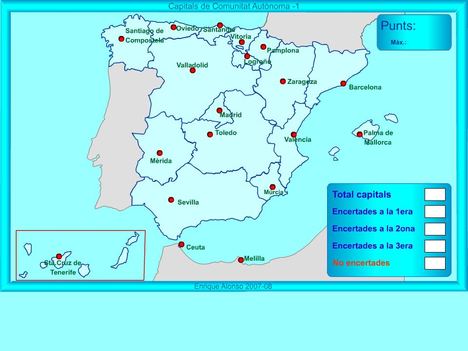 Mapa Interactiu Provincies Espanya.Treballem Les Comunitats Autonomes Promocio 2002 E Sadako Blog De 6e De Primaria
