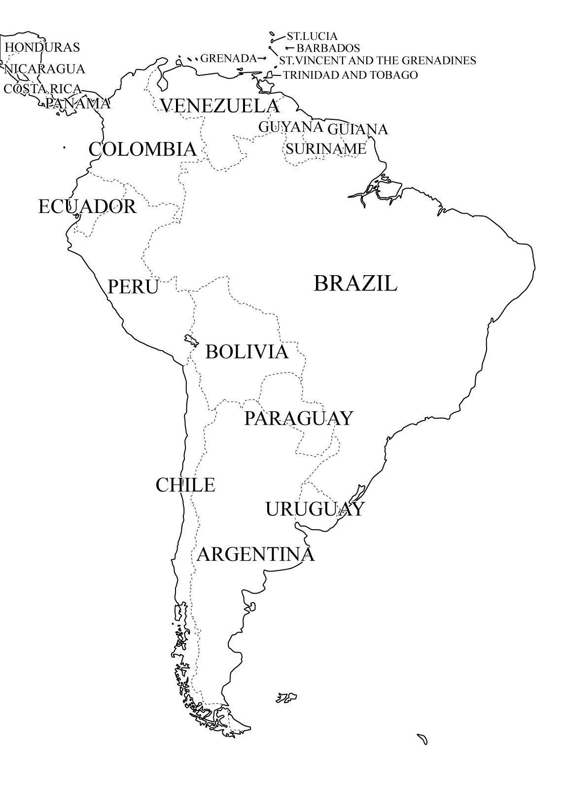 Mapa político de América del Sur Mapa de países y ciudades de ...