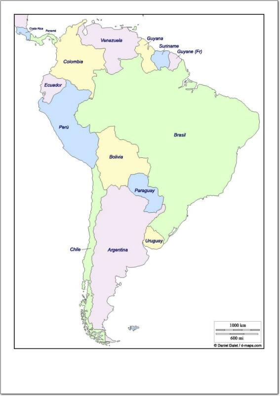 Mapa político de Sudamérica Mapa de países de Sudamérica. d-maps ...