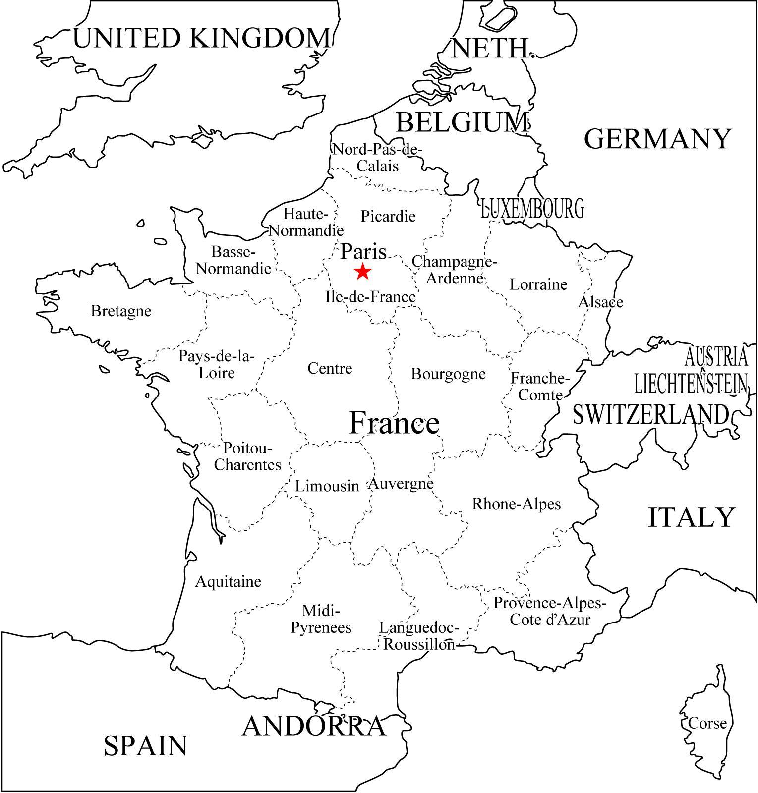 LAMINAS COLEGIALES PARA IMPRIMIR Y RECORTAR: Mapa de Francia-Politico