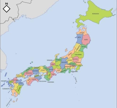 Mapa político de Japón para imprimir Mapa de prefecturas de Japón ...