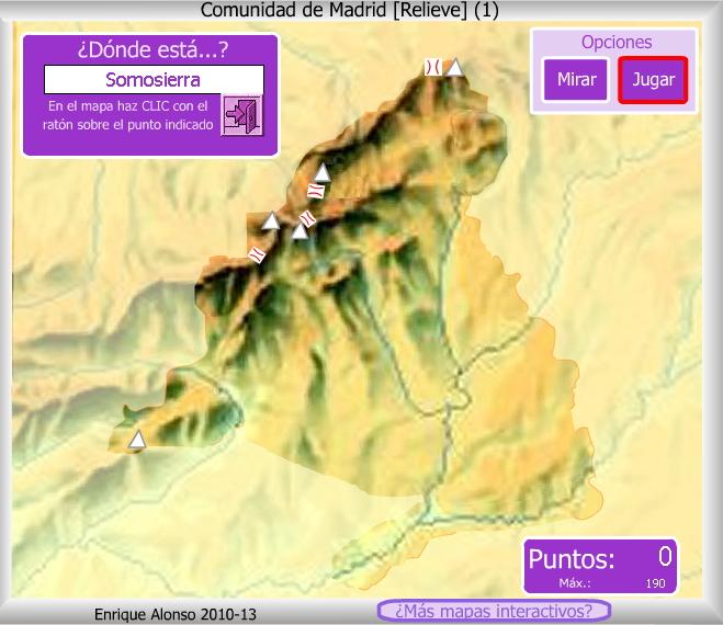 Mapa interactivo de madrid relieve de la comunidad de for Donde esta la comunidad de madrid