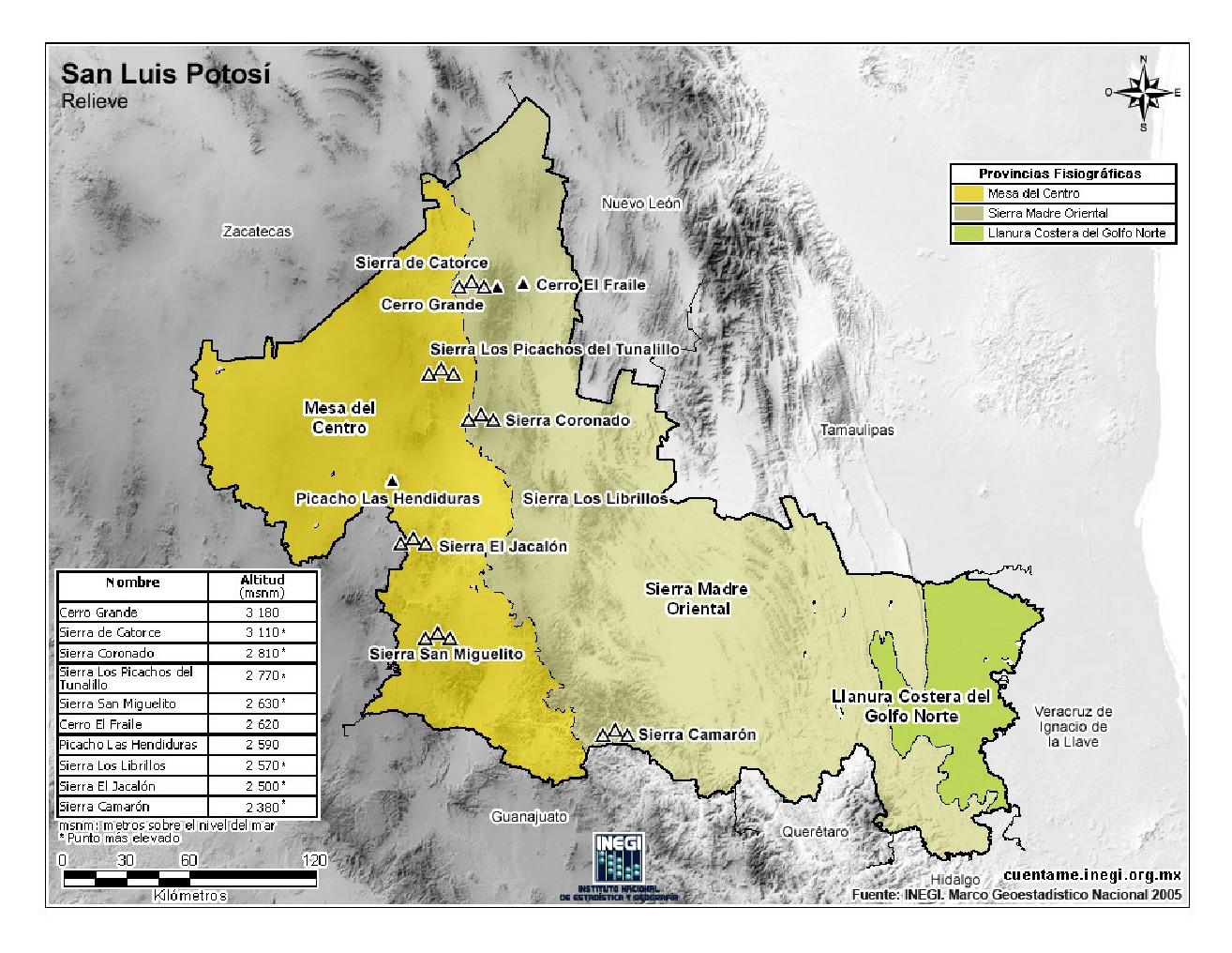 Mapa para imprimir de San Luis Potosí Mapa mudo de montañas de San ...