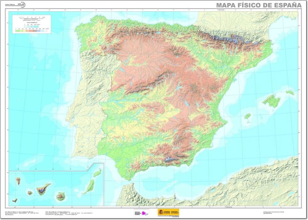Mapa físico mudo de España Mapa mudo de ríos y montañas de España ...