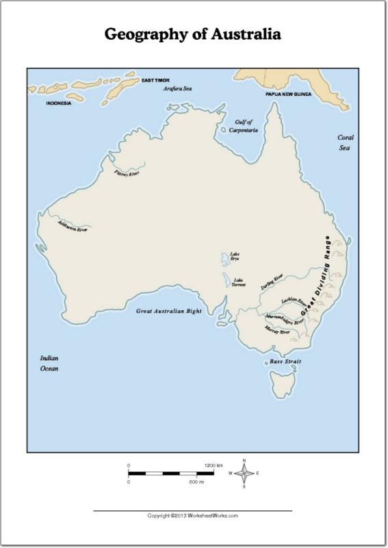 Mapa de ríos y montañas de Australia. WorksheetWorks