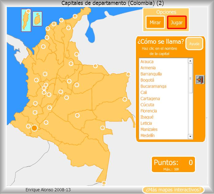 Mapa interactivo de Colombia Capitales de Departamento de Colombia ...
