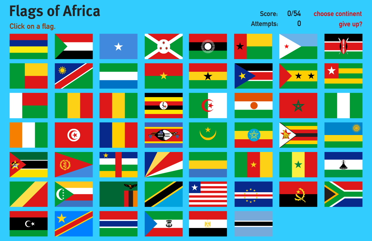 Interactive map of Africa Flags of Africa. World Geography