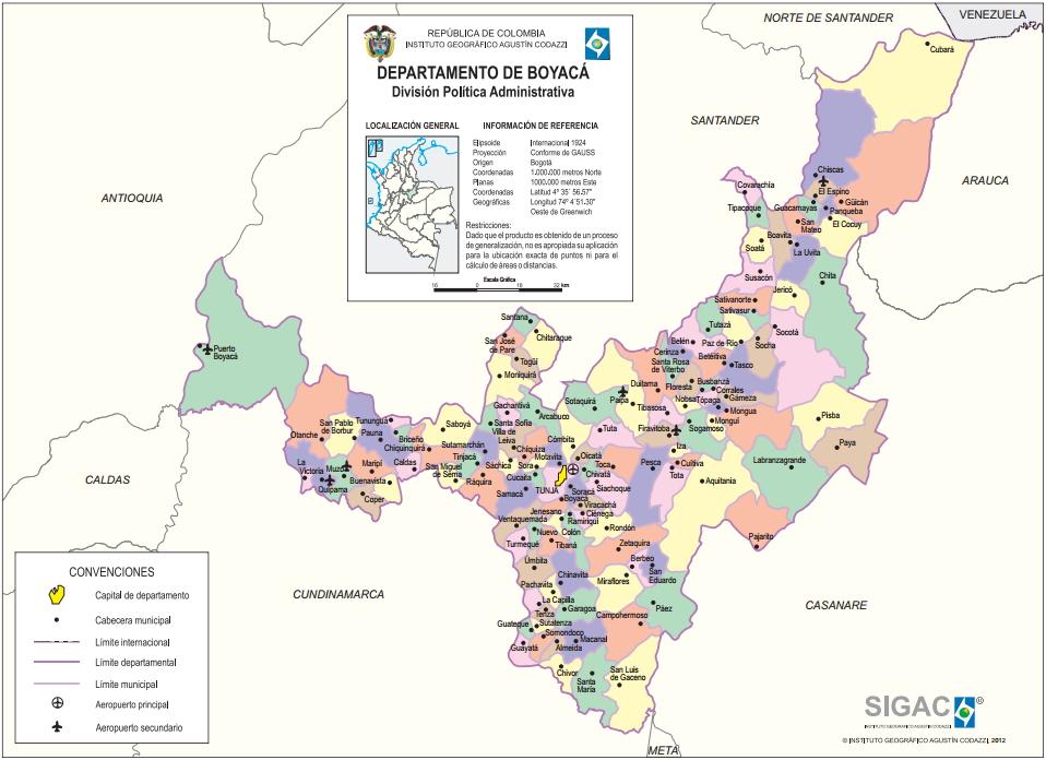 Mapa de Boyaca Colombia Mapa Político de Boyacá