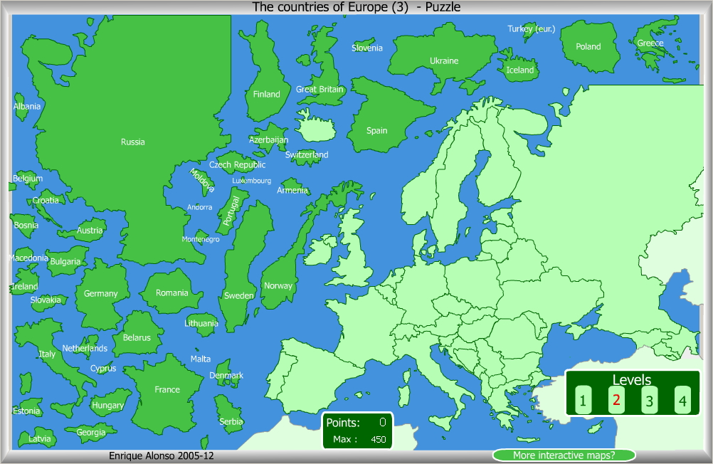 Interactive map of Europe Countries of Europe Puzzle Enrique Alonso Mapas