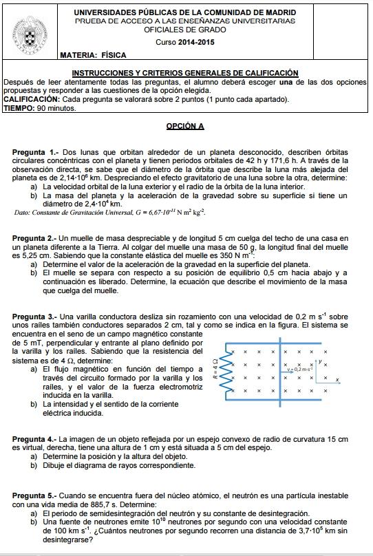 Examen de Selectividad: Física. Madrid. Convocatoria Junio 2015