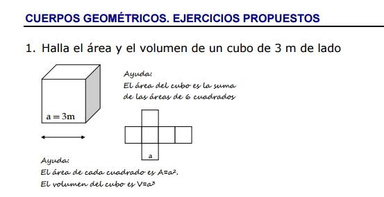 Ejercicios propuestos de áreas y volúmenes de cuerpos geométricos