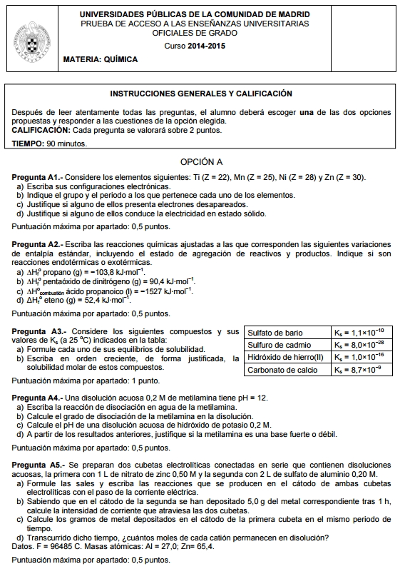 Examen de Selectividad: Química. Madrid. Convocatoria Junio 2015