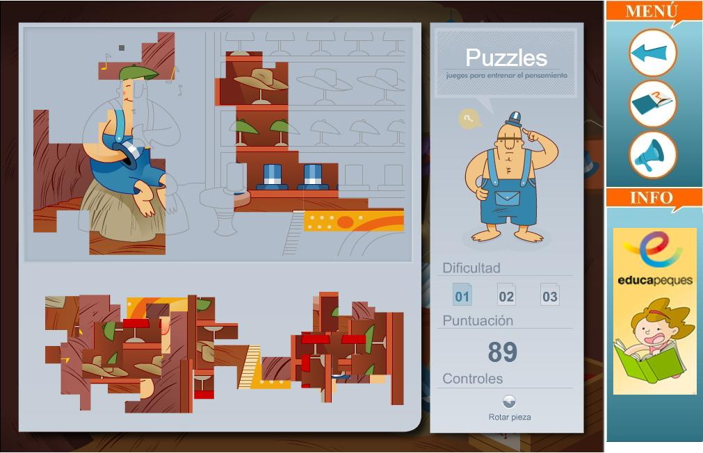 de juegos de memoria de lógica y de habilidad en diferentes niveles