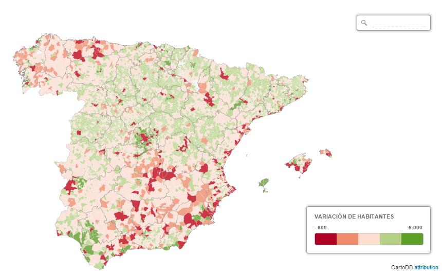 Evolución demográfica metropolitana en España (El país)