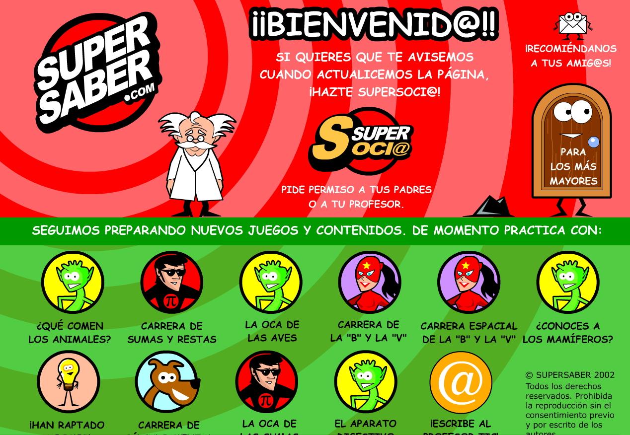 SuperSaber.com: Estudiar + Divertir = Aprender. Una web educativa con juegos didácticos interactivos