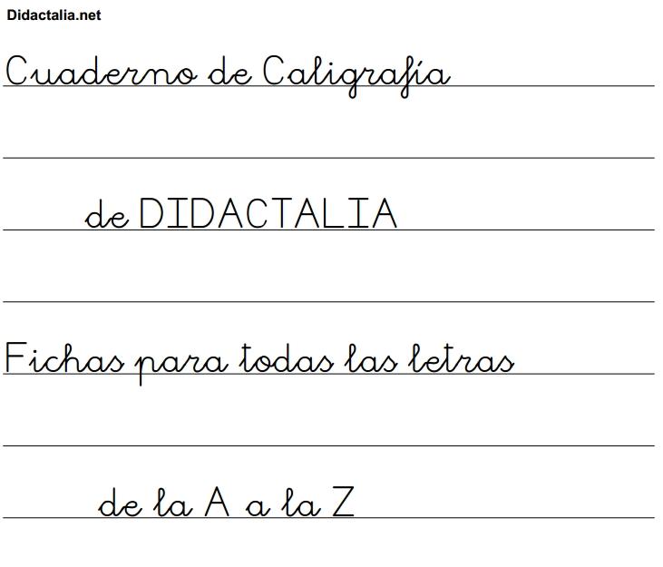 Cuaderno de Caligrafía. Fichas de la A a la Z - Didactalia ...
