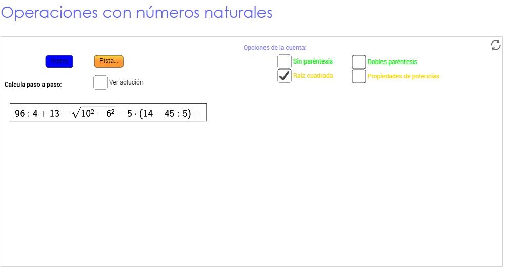 Operaciones con números naturales (Geogebra)