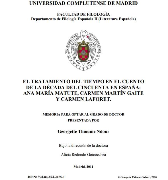 El tratamiento del tiempo en el cuento de la década del cincuenta en España: Ana María Matute, Carmen Martín Gaite y Carmen Laforet