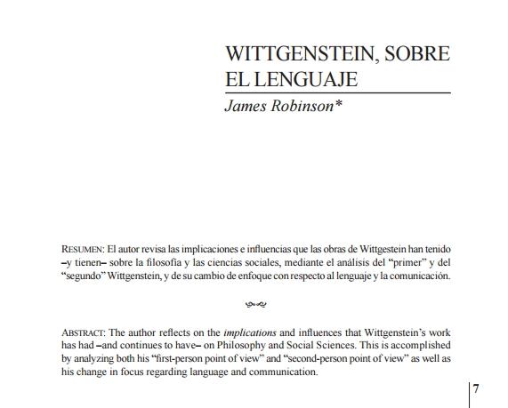 Ludwig Wittgenstein. Sobre el Lenguaje. Artículo