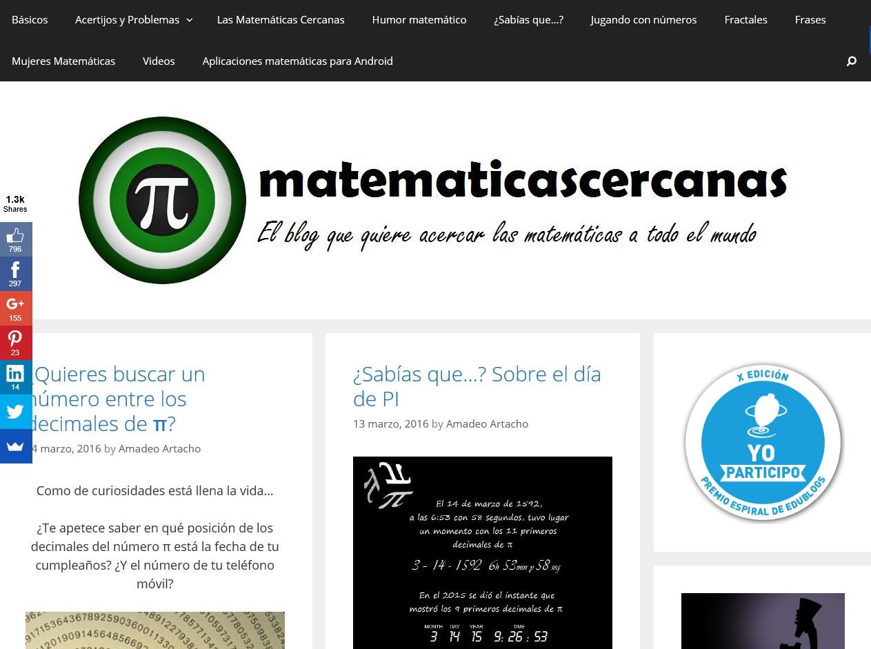 matematicascercanas. El blog que quiere acercar las matemáticas a todo el mundo.