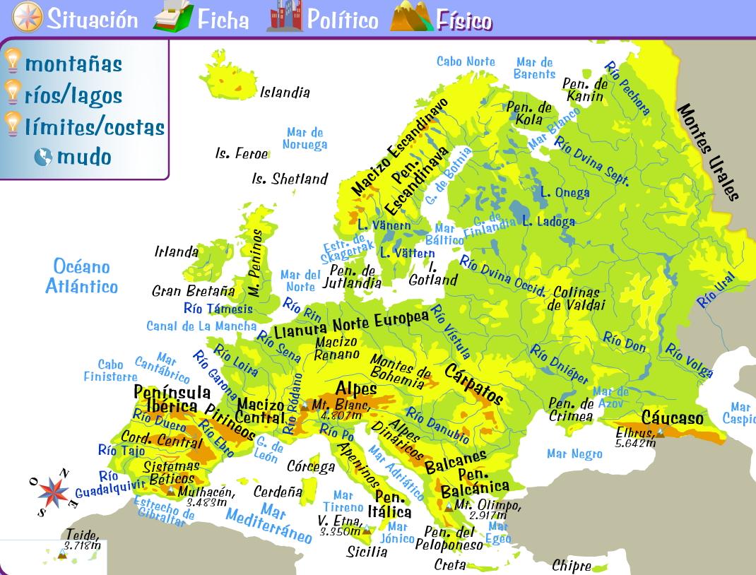 Mapa Fisico de Europa Mapa de La Union Europea  Online Map