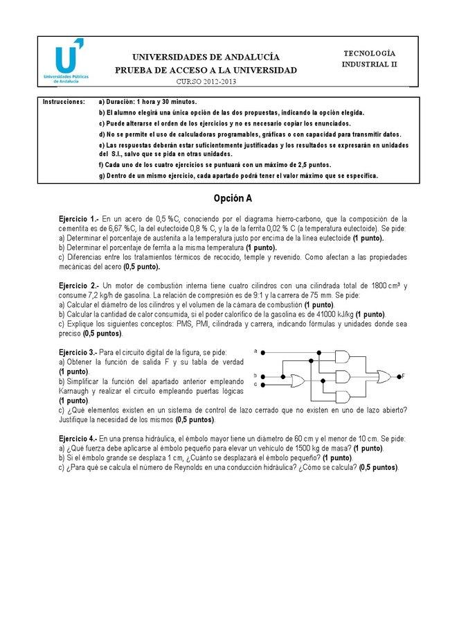 Examen de Selectividad: Tecnología industrial. Andalucía